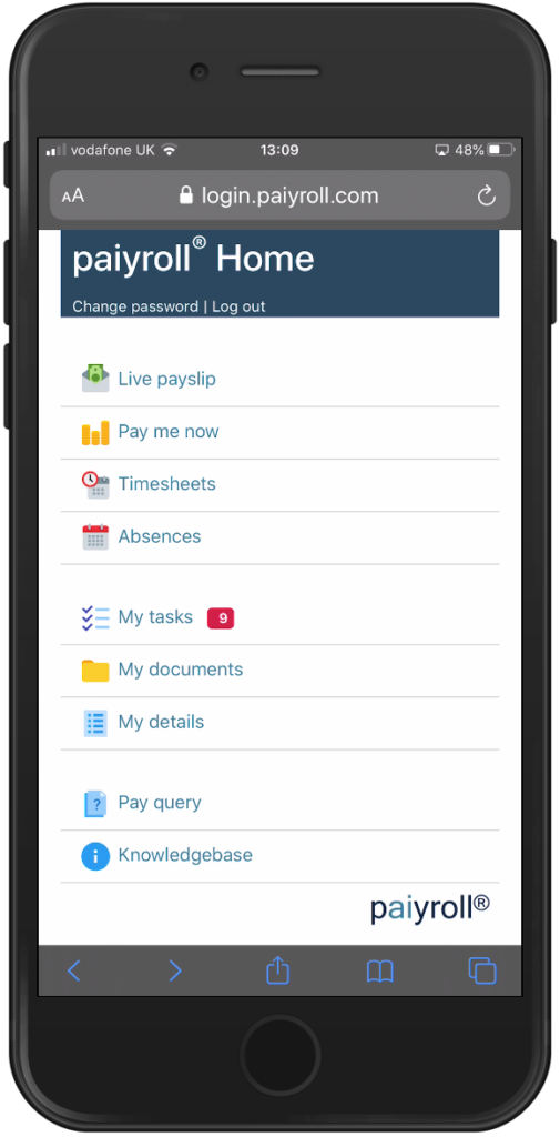 Automated online payroll service Employee app