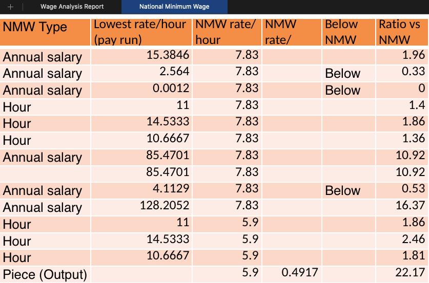 Automatic National Minimum Wage report