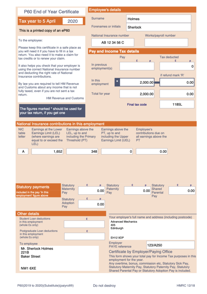 P60 form from payroll service