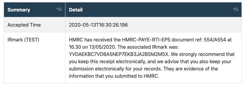payroll service HMRC RTI receipt