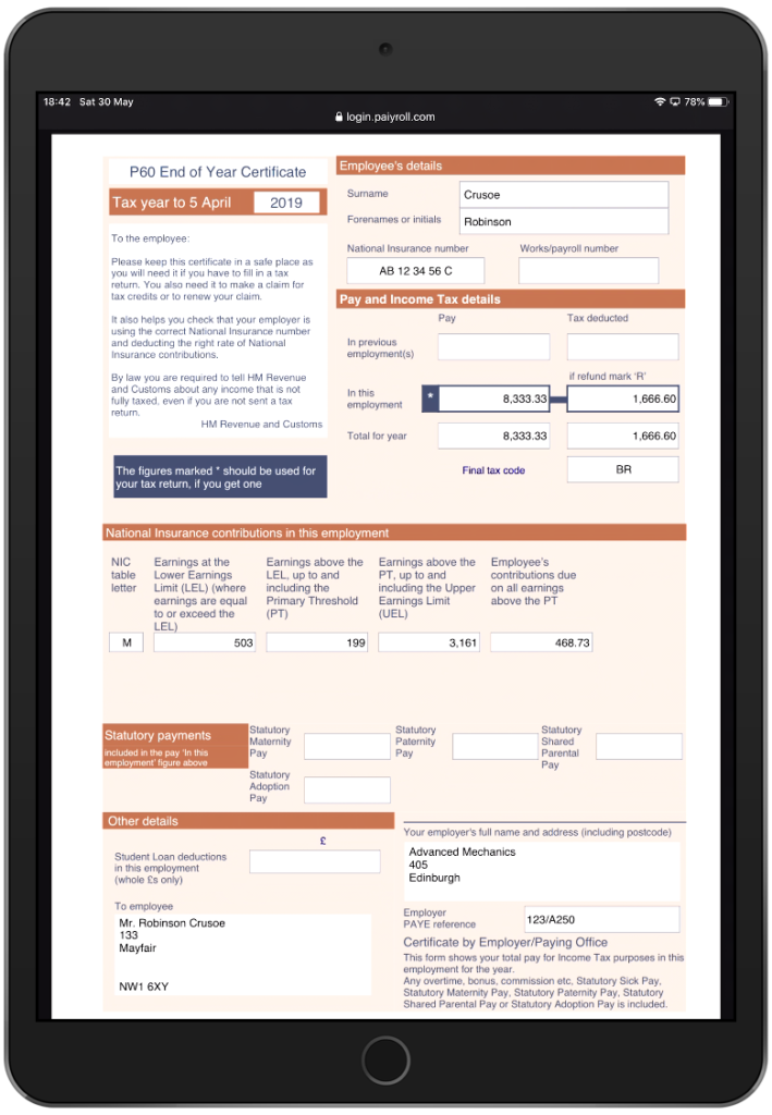 GDPR compliant paiyroll® secure https P60 (annual payslip)